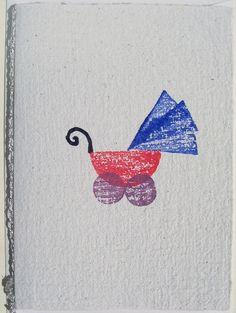 Handgeschöpfte Karte mit Kinderwagen Nr. 34 von paperuli auf DaWanda.com