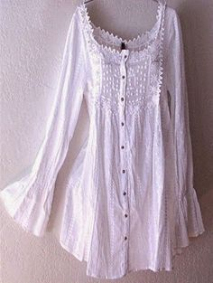 Long White Victorian Vintage Lace Peasant Blouse Boho Tunic Top | Fashion And Style