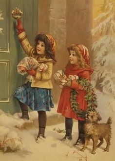 A Happy Christmas postcard ~ 2 girls with presents dog Vintage Christmas Images, Old Fashioned Christmas, Christmas Scenes, Christmas Past, Victorian Christmas, Christmas Pictures, Christmas Greetings, Vintage Holiday, Handmade Christmas
