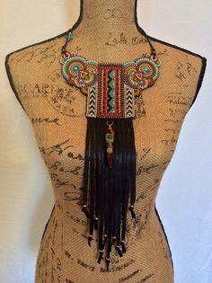 Beadwork Tribal Necklace with Black Leather Fringe, Boho Necklace, Statement Necklace
