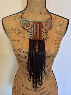 Beadwork Tribal Necklace with Black Leather Fringe by perlinibella