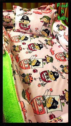 Pink Pirates Deluxe Crib Set Several MINKY fabrics by RNBDesignz, $195.00
