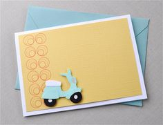 Scoot on over blank greeting card.  Scooter, moped, vespa, circles, aqua, retro look, yellow, teal, turquoise, white.  (1 card). $4.00, via Etsy.