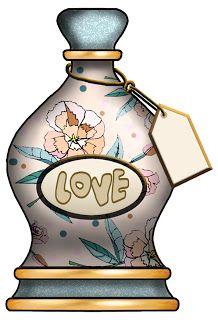 "ArtbyJean - Bottles: Love bottle with floral pattern, ""LOVE"" label,"