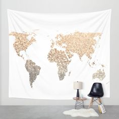 Nursery map tapestry peach pink gold glitter house favs buy map wall tapestry by monika strigel worldwide shipping available at society6 gumiabroncs Images