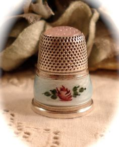 VINTAGE SEWING THIMBLE  Sterling Silver Guilloche   by DaffodilsVintage