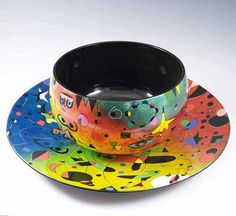 """Hand Painted """"Wooden Bowl"""" and """"Platter"""""""