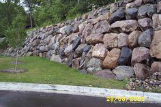 tall boulder retaining wall
