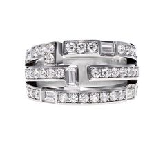 Traffic by Harry Winston, Three Row Diamond Ring. 40 round brillaint and baguette diamonds, approximately total carats; Modern Jewelry, Fine Jewelry, Harry Winston Engagement Rings, Art Deco Ring, Quality Diamonds, Diamond Wedding Rings, Ring Designs, Bridal Jewelry, Diamond Jewelry