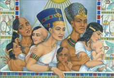 Nice acrylic painting of Amarna family by?
