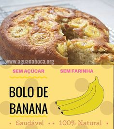 Bolo de Banana sem Glúten com Farinha de Arroz - Sem Glúten Online - Bolo de Banana sem Glúten com Farinha de Arroz! Confira no link da imagem! Low Carb Recipes, Vegan Recipes, Cooking Recipes, Menu Dieta, Love Food, Sweet Recipes, Delicious Desserts, Food Porn, Food And Drink