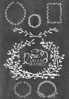Free Hand Drawn Circle Wreaths Digital Graphics