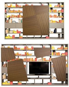 Les nouveautés rangements 2013 signées Roche Bobois - Bibliothèque Latina - design : Marco Fumagalli... Le panneau s'ouvre en plusieurs morceaux pour dévoiler la tv !