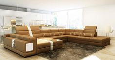 Divani Casa 6144 Modern Camel and White Bonded Leather Sectional Sofa - Stylish Design Furniture