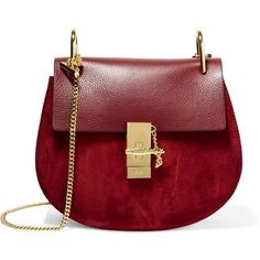 Chloé Drew small leather and suede shoulder bag, Women's, Size: S ($1,675) ❤ liked on Polyvore featuring bags, handbags, shoulder bags, burgundy leather purse, red handbags, genuine leather purse, suede handbags and leather purse