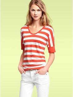 Striped elbow-sleeve T   Gap