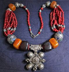 Berber Silver Cross with Coloured Beads Morrocan by TuaregJewelry, $219.00 Ineke Hemminga