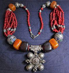 Berber Silver Cross with Coloured Beads, Morrocan Sahara