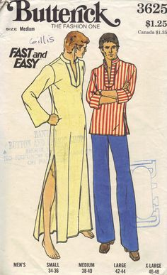 4910a3097f3 Butterick Retro 70s Sewing Pattern Long Men s Caftan V Neck Tunic Wide  Sleeve Shirt Boho Hippie Style Top Chest 38 40