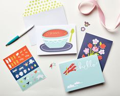Just Because Cards Greeting Card Companies, Greeting Cards, Say Hello, Note Cards, Envelope, Berries, Stationery, Pencil, Writing