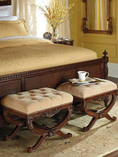 Lourdes Upholstered Bench works beautifully as a vanity stool or in pairs as occasional seats in a living area.