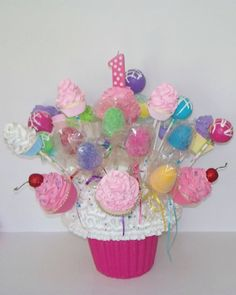GIANT FAKE CUPCAKE CENTERPIECE, GUMDROPS, CAKE POPS, BIRTHDAY PARTY DECORATIONS #FakeCupcakeCreations
