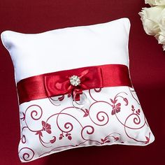 £19 Red and White Ring Pillow