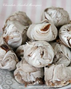 Chocolate Swirled Meringues-whipped egg whites, some sugar, swirled in chocolate then slow baked into a crispy cookie.