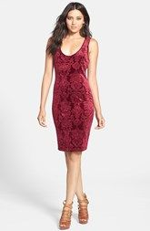 June & Hudson Textured Velvet Body-Con Midi Dress