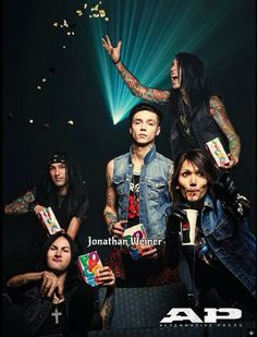 Jakes making it rain popcorn. Andy's just 100% done. Ashley's casually taking a sip of coca cola or something. Jinxx is inviting someone over. Cc is just chowing down on popcorn