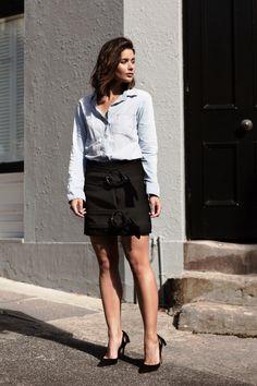 black j.w. Anderson mini skirt and denim shirt with Aquazzura black pumps | HarperandHarley