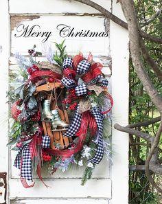 Christmas Wreath Wreath with Sled Christmas Door Decor Christmas Wreaths For Front Door, Christmas Door Decorations, Christmas Porch, Christmas Table Settings, Rustic Christmas, Red Christmas, Beautiful Christmas, Door Wreaths, Christmas Things