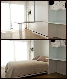 I've always wanted a  murphy bed. Nine Red: Spotlight: Murphy Bed, & Desk!