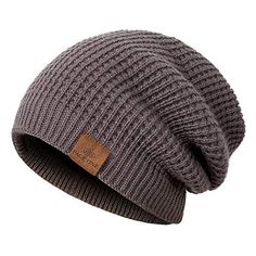 2d1cba5f73c107 PAGE ONE Mens Beanie Hat Thick Fleece Lined Knit Hat Solid Cap Men Women( Dark