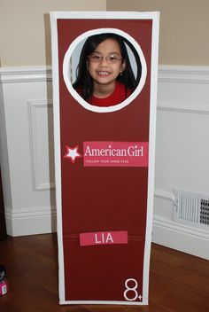Photo booth: American Girl Party -  pre print each girls name for the box