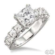 2 Ctw Princess Cut Diamond Semi-Mount Ring in 18K White Gold