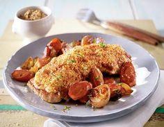 Das Rezept für Ofenschnitzel mit Senfkruste und Balsamico-Karotten und weitere kostenlose Rezepte auf LECKER.de