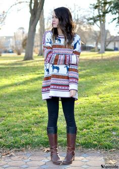 Light Khaki Deer Fair Isle Christmas Xmas Warm Nicest Pattern Oversized Sweater