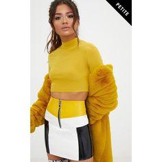 Petite Yellow Contrast Vinyl Mini Skirt ($28) ❤ liked on Polyvore featuring skirts, mini skirts, yellow, yellow mini skirt, vinyl mini skirt, petite skirts and short mini skirts