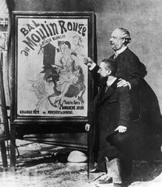 French painter Henri Toulouse-Lautrec (L) stands near one of his famous posters advertising the club with the director of the Moulin Rouge. c.1899