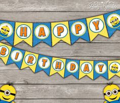 """INSTANT DOWNLOAD -  """"Happy Birthday"""" Bunting Banner - Despicable Minions - Digital Printable pdf file"""