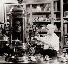 A grand Espresso machine in a New York coffee shop, 1942 #Coffee #Espresso #MarleyCoffee