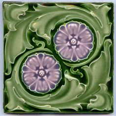 Pair of Violet Flower, Art Nouveau Majolica Tile