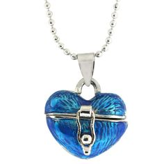 Stunning Blue Heart Shape Locket Pendant with 28 Inch Chain