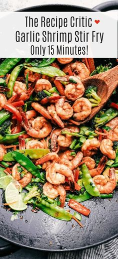 Garlic Shrimp Stir Fry is one of the easiest meals that is packed with so many delicious veggies and shrimp. Glazed in the most amazing garlic sauce this will become an instant favorite! Stir Fry Recipes, Veggie Recipes, Fish Recipes, Seafood Recipes, Cooking Recipes, Healthy Recipes, Meatless Recipes, Diabetic Recipes, Delicious Recipes