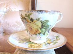 Vintage Yellow Rose Tea Cup and Saucer  by VintageGlassEscape