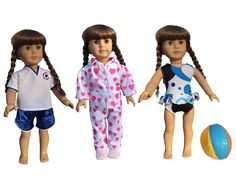 http://www.amazon.com/American-Doll-Clothes-Swimsuit-Pajamas/dp/B00UU505AK/ref=sr_1_930?s=toys-and-games&ie=UTF8&qid=1428071275&sr=1-930&keywords=american+girl+doll+clothes   American Girl doll clothes from instyle features the soccer player, swim suit with beach ball and the warm fuzzy pj's