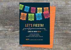 Picado Fiesta Invitation Mexico Paper Banner By Brightsideprints 8450 Taco Party