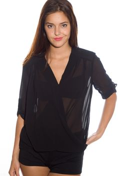 Prioritize Pretty Padded Shoulder Wrap Front Chiffon Top - Black from April at Lucky 21