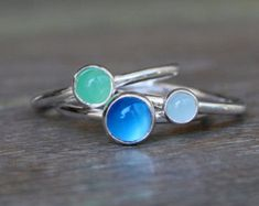 Set of Three Sterling Silver Stacking Rings, Stackable Gemstone Rings, Blue Chalcedony, Green Chrysoprase, Aquamarine Cabochons Silver Stacking Rings, Sterling Silver Rings, Stackable Rings, Jewelry Rings, Silver Jewelry, Etsy Jewelry, Aquamarine Gem, Blue Chalcedony, Green Aventurine